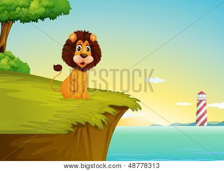Illustration of a lion sitting at the cliff overlooking the tower