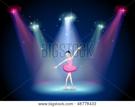Illustration of a graceful ballerina at the center of the stage