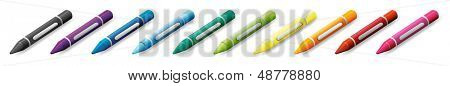 Illustration of the ten colorful crayons on a white background
