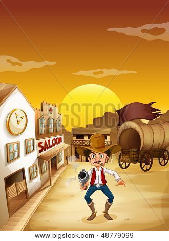 Illustration of an old man wearing a hat holding a gun outside the saloon