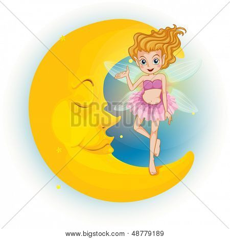 Illustration of a fairy standing on a sleeping half moon on a white background