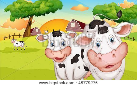 Illustration of a farm with many cows