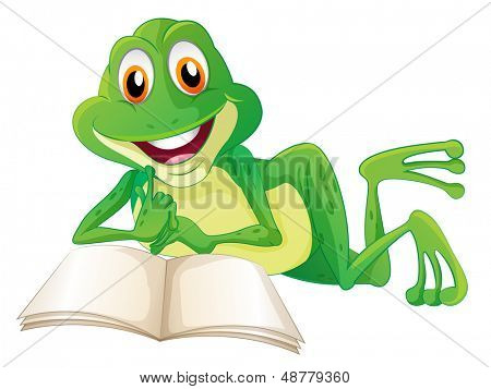 Illustration of a frog lying while reading a book on a white background