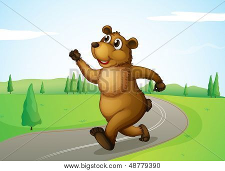 Illustration of a bear running at the road