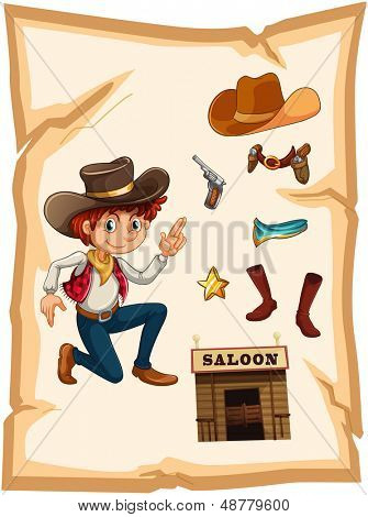 Illustration of a poster with a cowboy and a saloon bar on a white background
