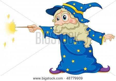 Illustration of a wizard holding a magic wand on a white background