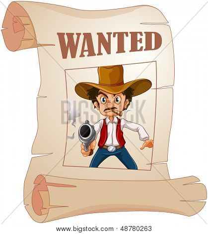 Illustration of a wanted cowboy holding a gun at the poster on a white background