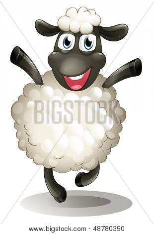 Illustration of a happy sheep on a white background