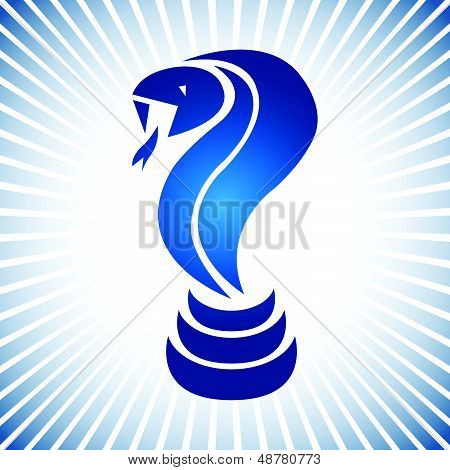 Blue simple vector snake logo