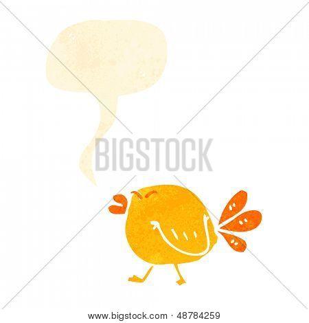 retro cartoon tweeting angry bird