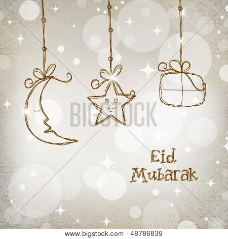 Muslim community festival Eid Mubarak concept with hanging moon, star and gift boxes on shiny grey background.