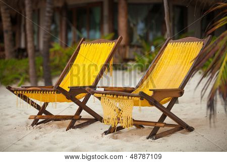 Two Chairs On Perfect Tropical White Sand Beach In Tulum, Mexico