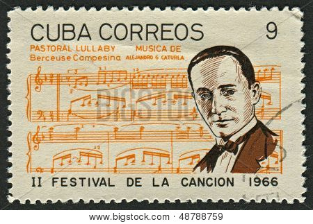 CUBA - CIRCA 1966: A stamp printed in Cuba shows image of the Alejandro Garcia Caturla (7 March 1906 - 12 November 1940) was a Cuban composer of art music and creolized Cuban themes, circa 1966.