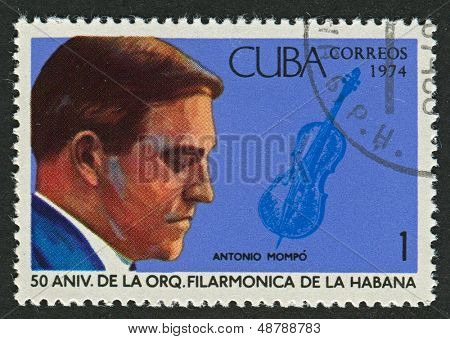 CUBA - CIRCA 1974: A stamp printed in Cuba shows image of the Violinist Antonio Mompo, circa 1974.