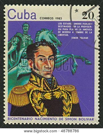 CUBA - CIRCA 1983: A stamp printed in Cuba shows image of the Simon Bolivar, was a Venezuelan military and political leader, circa 1983.