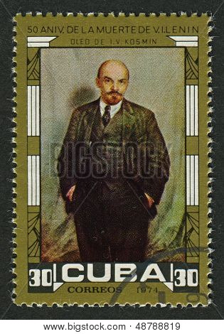 CUBA - CIRCA 1974: A stamp printed in Cuba shows image of the Vladimir Ilyich Lenin; born Vladimir Ilyich Ulyanov, was a Russian communist revolutionary, politician and political theorist, circa 1974.