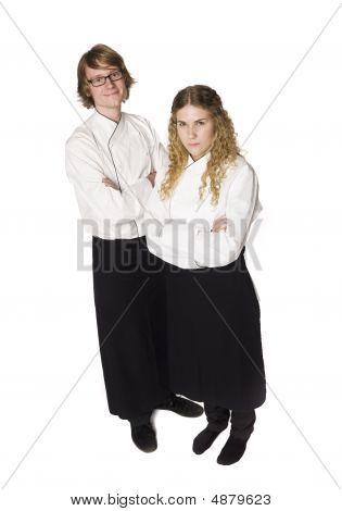 Waiter and a waitress