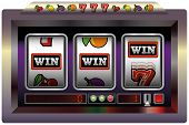 stock photo of pentagram  - Illustration of a slot machine with three reels - JPG