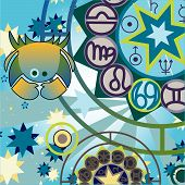 picture of zodiac sign  - cancer in vector illustration of zodiac signs - JPG