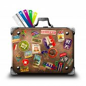 stock photo of old suitcase  - The old suitcase with air tickets for the white background - JPG
