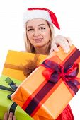 Christmas Woman Giving Presents