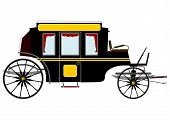 stock photo of stagecoach  - Black vintage stagecoach on a white background - JPG