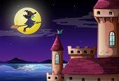 Постер, плакат: Иллюстрация собирается замок Ведьма