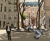 stock photo of stroll  - Vector illustration of Furstemberg square in paris - JPG