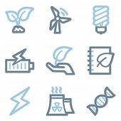 Ecology icons, blue line contour series