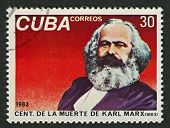 CUBA - CIRCA 1983: A stamp printed in Cuba shows image of the Karl Heinrich Marx,  was a German phil