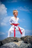 foto of karate-do  - Young boy training karate - JPG