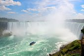 image of horseshoe  - Boat and Horseshoe Falls from Niagara Falls - JPG