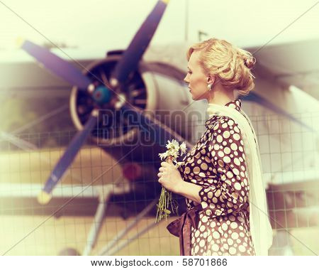 Vintage Photo Of Beautiful Girl And Plane