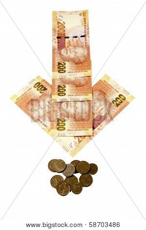 Concept Arrow Showing South African Rand Depreciating
