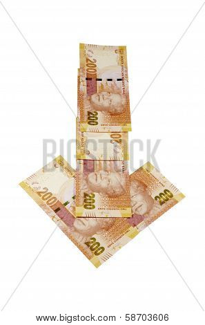 Concept Arrow Of South African Rand Depresiating