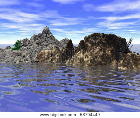 Abstract mountainous little island in the sea (digitally rendered)