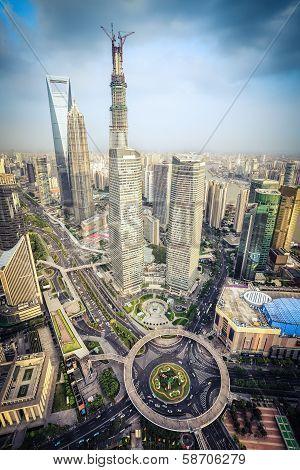 Modern City Aerial View Of Shanghai Midtown