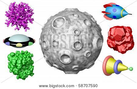 Toy outer space objects isolated on white background