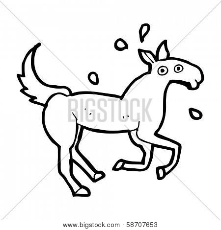cartoon horse sweating
