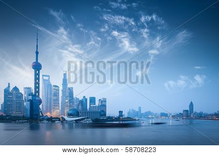 Shanghai Skyline In Dawn