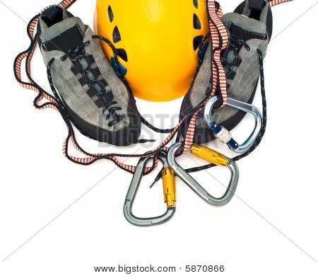 Climbing Gear - Carabiners, Helmet, Rope, Shoes