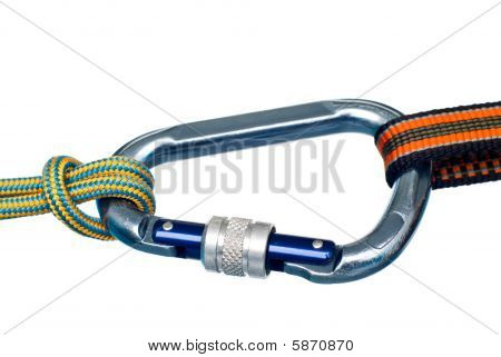 Carabiner And Two Ropes