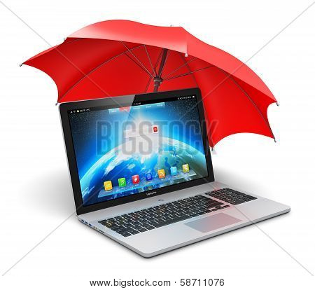 Notebook and umbrella