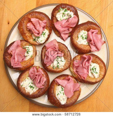 Yorkshire Puddings with Beef Pastrami & Horseradish