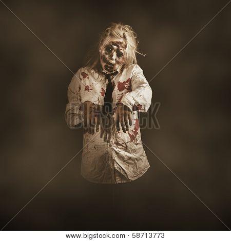 Evil Zombie Business Woman. Mindless Follower
