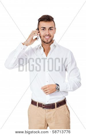 Handsome Man Reading A Message On His Mobile