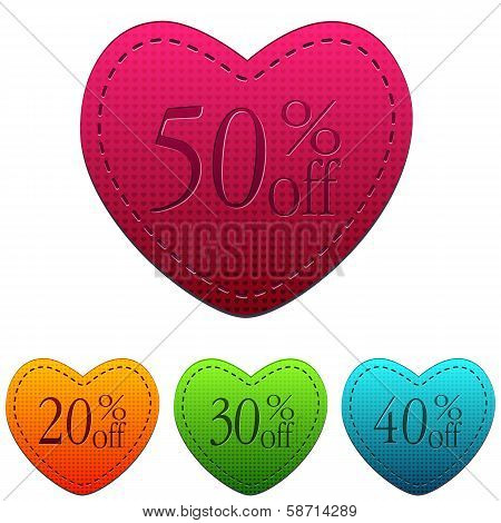 Valentines Day Sale And Different Percentages Rebate In Hearts Banners