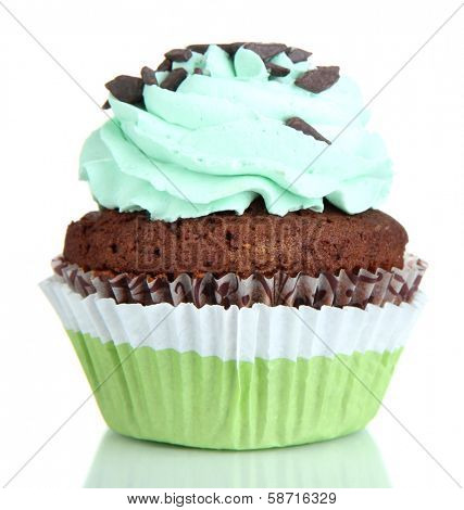 Tasty cupcake isolated on white