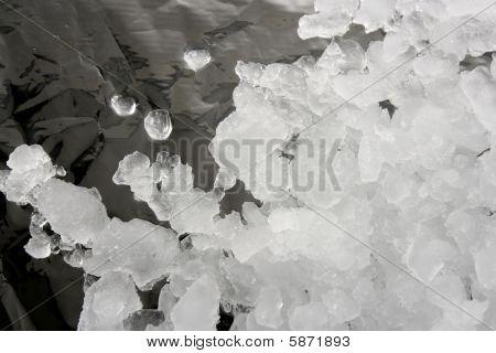 Ice Texture  Over Dark Silver Metal Film