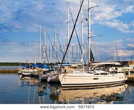 Docked Yachts At Sunset